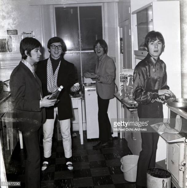 """Ian McLagan, Kenney Jones, Steve Marriott and Ronnie Lane of the rock and roll band """"Small Faces"""" pose for a portrait in circa 1966."""