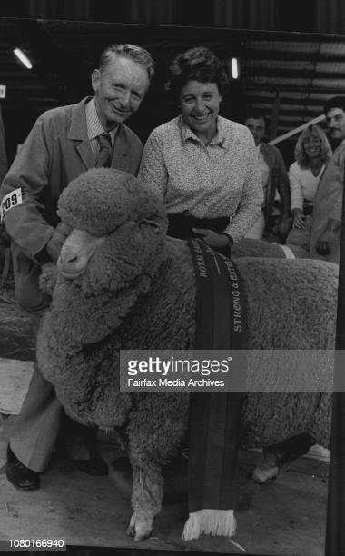 Ian McMaster of Goolgumbla Jerilderie with his champion strong wool ewe and Mrs Bill Ferguson of fairfield grange triangle who made the sashing March...