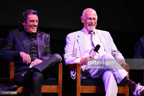 Ian McShane and Gerald McRaney at Film Independent presents an evening with Deadwood at Wallis Annenberg Center for the Performing Arts on April 23...