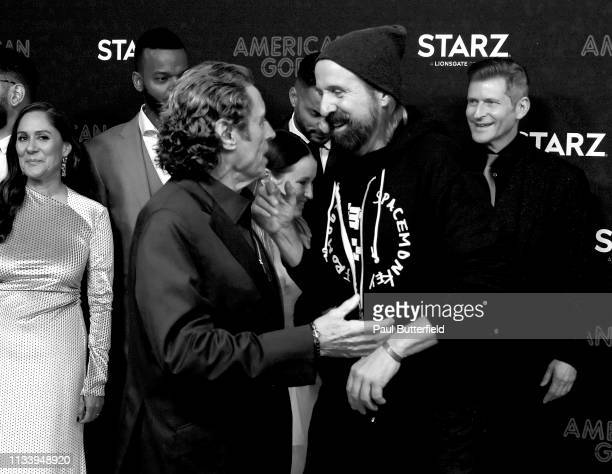 """Ian McShane and Peter Stormare attends the premiere of STARZ's """"American Gods"""" season 2 at Ace Hotel on March 05, 2019 in Los Angeles, California."""