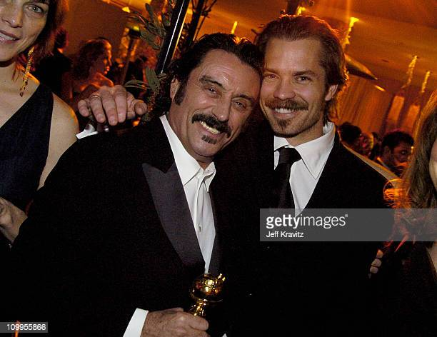 Ian McShane and Timothy Olyphant during HBO Golden Globe Awards Party Inside at Beverly Hills Hilton in Beverly Hills California United States