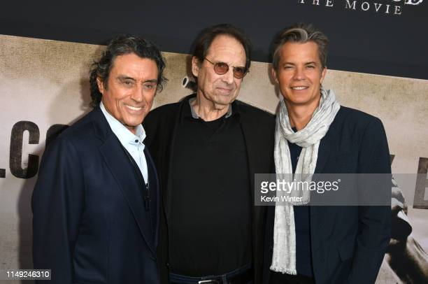 Ian McShane David Milch and Timothy Olyphant arrive at the premiere of HBO's Deadwood at The Cinerama Dome on May 14 2019 in Los Angeles California