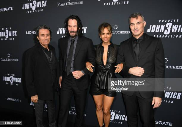 Ian McShane Keanu Reeves Halle Berry and Chad Stahelski attend the special screening of Lionsgate's John Wick Chapter 3 Parabellum at TCL Chinese...