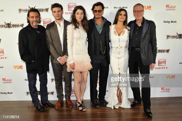 R Ian McShane Sam Claflin Astrid Berges Frisby Johnny Depp Penelope Cruz and Geoffrey Rush arrive for the UK Premiere of 'Pirates Of The Caribbean On...
