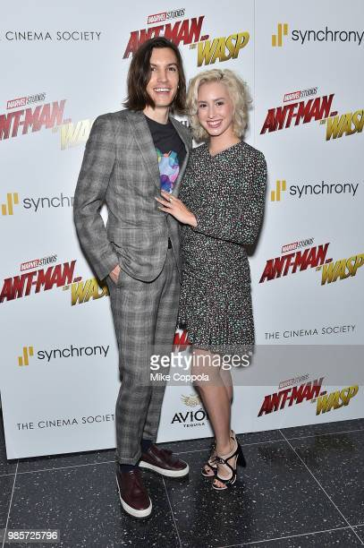 Ian Mellencamp and Jazmin Grace Grimaldi attend the screening of Marvel Studios' 'AntMan and The Wasp' hosted by The Cinema Society with Synchrony...