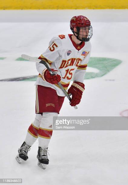 Ian Mitchell of the Denver Pioneers warms up before an NCAA Division I Men's Ice Hockey West Regional Championship Semifinal game between the Ohio...