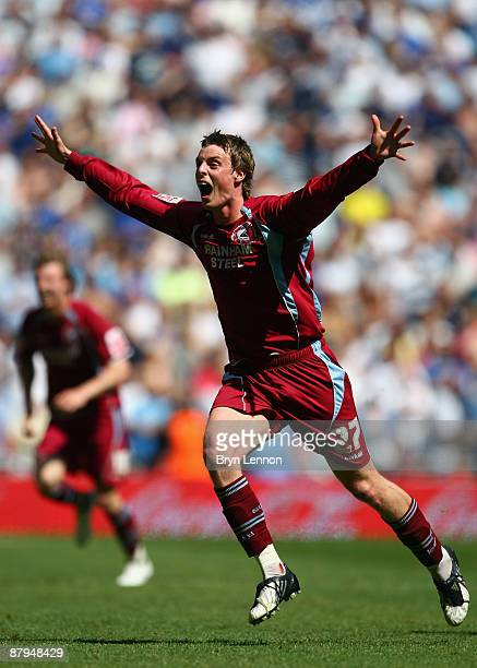 Ian Morris of Scunthorpe United celebrates at the final whistle after winning the Coca Cola League 1 Playoff Final between Millwall and Scunthorpe...