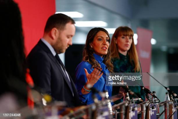 Ian Murray Dr Rosena AllinKhan and Angela Rayner speaking at a hustings event for Labour Leader and Deputy Leader hosted by the Cooperative Party at...