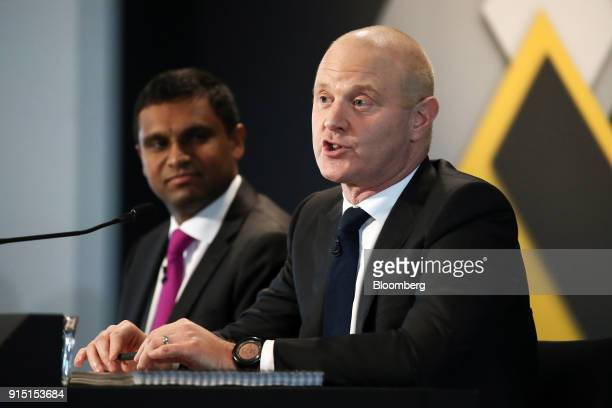 Ian Narev outgoing chief executive officer of Commonwealth Bank of Australia speaks as Robert 'Rob' Jesudason chief financial officer looks on during...