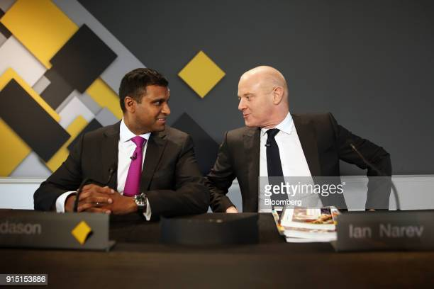 Ian Narev outgoing chief executive officer of Commonwealth Bank of Australia right speaks to Robert 'Rob' Jesudason chief financial officer during a...