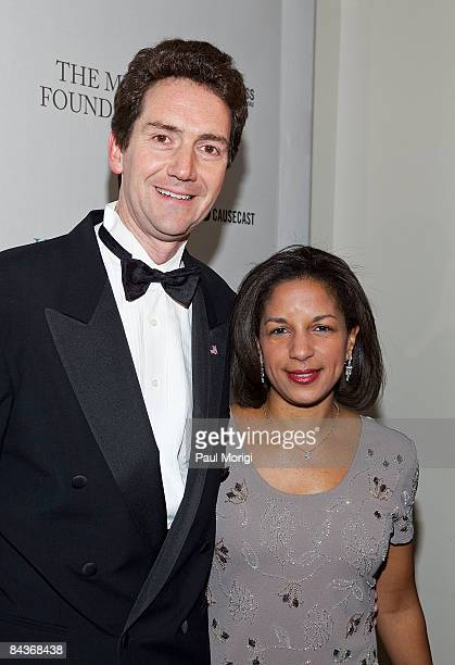 Ian O Cameron and Susan Rice attend The Huffington Post preinaugural ball at the Newseum on January 19 2009 in Washington DC