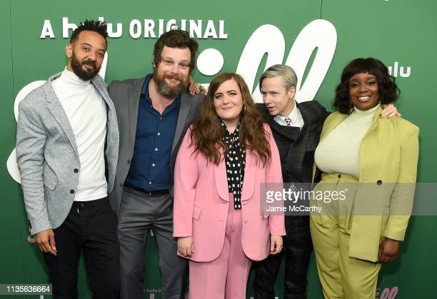 """Ian Owens, Luka Jones, Aidy Bryant, John Cameron Mitchell and Lolly Adefope attend Hulu's """"Shrill"""" New York Premiere at Walter Reade Theater on March..."""