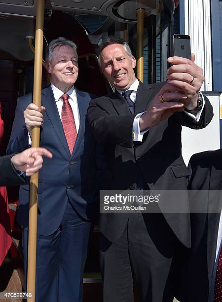 Ian Paisley Jr takes a selfie with Northern Ireland First Minister and DUP leader Peter Robinson at the launch of the Democratic Unionist Party...