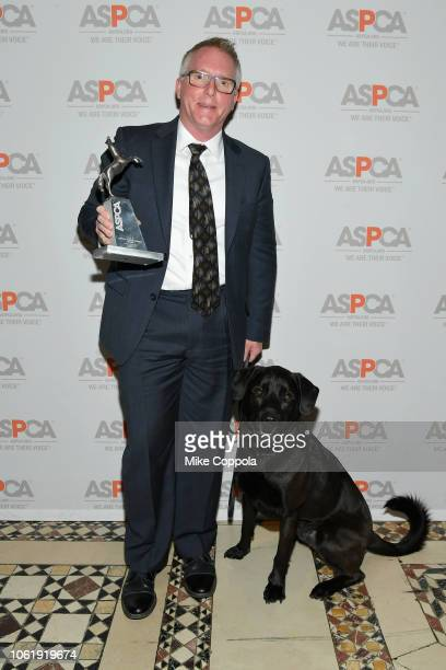 Ian Polhemus and Public Service Award Honoree Bear attend the ASPCA Hosts 2018 Humane Awards Luncheon at Cipriani 42nd Street on November 15 2018 in...