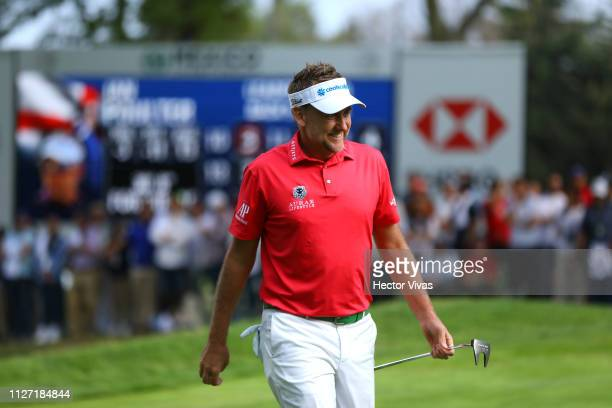 Ian Poluter of England celebrates on the 18th hole during the final round of World Golf ChampionshipsMexico Championship at Club de Golf Chapultepec...