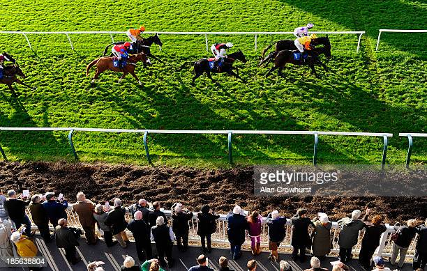 Ian Popham riding Bally Legend on their way to winning The 32Red Casino Handicap Hurdle Race at Fontwell racecourse on October 23 2013 in Fontwell...