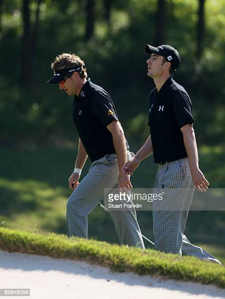 Ian Poulter and Ross Fisher of England look dispondent during the second round of the Omega Mission Hills world cup on November 28 2008 in Shenzhen...