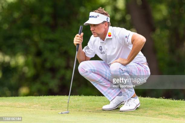 Ian Poulter lines up his putt on during the final round of the Charles Schwab Challenge on May 30, 2021 at Colonial Country Club in Fort Worth, TX.