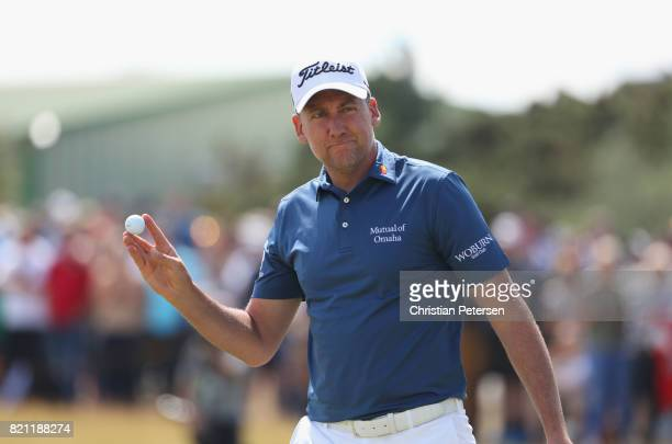 Ian Poulter of England acknowledges the crowd on the 1st green during the final round of the 146th Open Championship at Royal Birkdale on July 23...