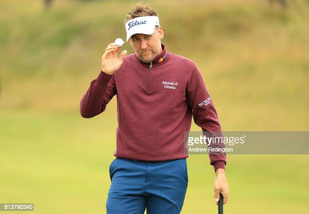 Ian Poulter of England acknowledges the crowd on the 9th hole during day one of the AAM Scottish Open at Dundonald Links Golf Course on July 13 2017...