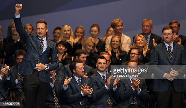 Ian Poulter of England and Stephen Gallacher of Scotland are announced as a fourball pair during the opening ceremony at the Gleneagles golf course...