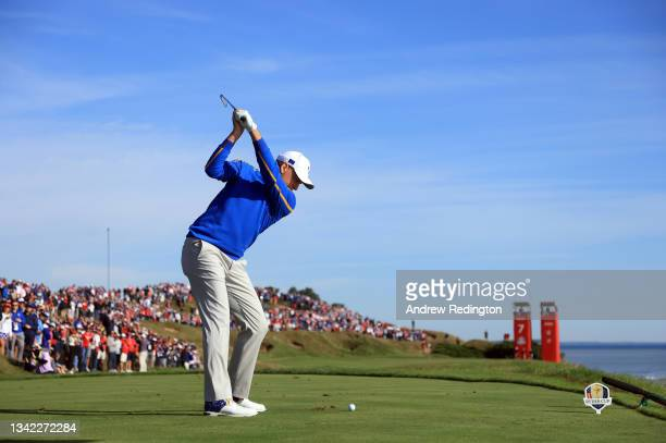 Ian Poulter of England and team Europe plays his shot from the seventh tee during Friday Morning Foursome Matches of the 43rd Ryder Cup at Whistling...