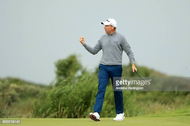 Ian Poulter of England celebrates a birdie on the 12th green during the second round of the 146th Open Championship at Royal Birkdale on July 21 2017...