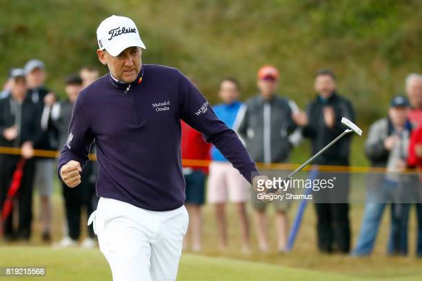 Ian Poulter of England celebrates a birdie on the 4th green during the first round of the 146th Open Championship at Royal Birkdale on July 20 2017...
