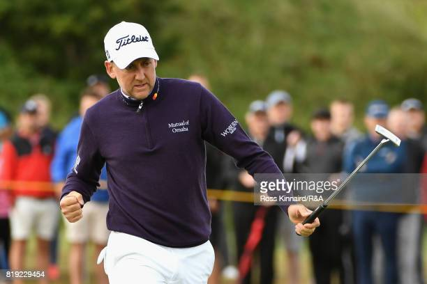 Ian Poulter of England celebrates a birdie on the 4th hole during the first round of the 146th Open Championship at Royal Birkdale on July 20 2017 in...