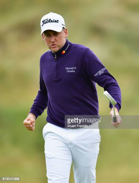 Ian Poulter of England celebrates on the 6th green during the first round of the 146th Open Championship at Royal Birkdale on July 20 2017 in...