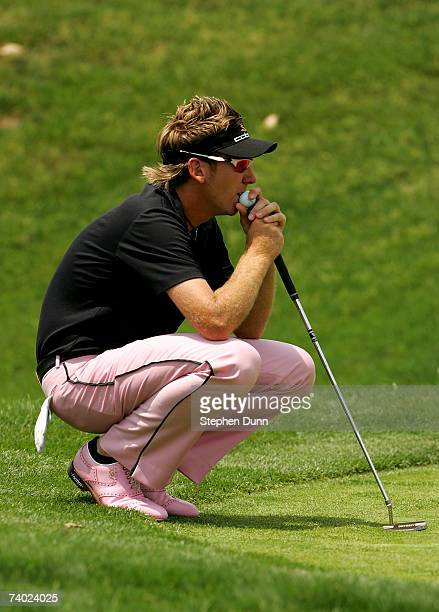 Ian Poulter of England contemplates his putt on the sixth hole during the final round of the EDS Byron Nelson Championship on April 29 2007 at the...