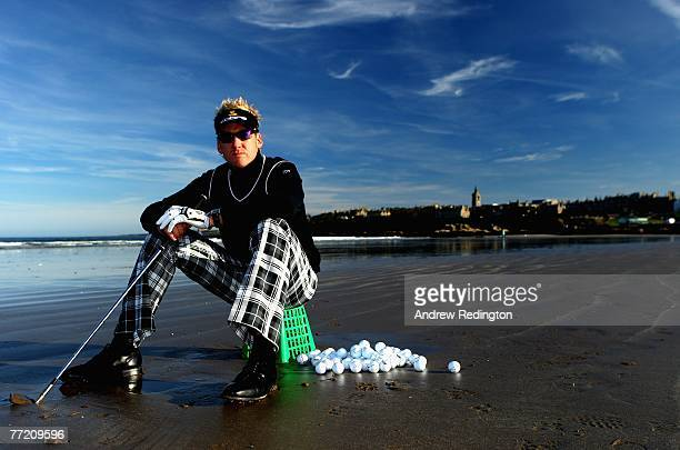 Ian Poulter of England during a portrait session on St Andrews beach on October 5 2007 in St Andrews Scotland
