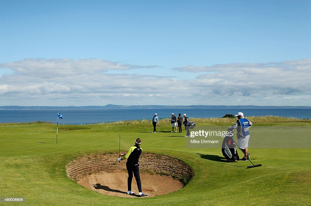 Ian Poulter of England hits a shot from a greenside bunker on the eighth hole during the first round of the Aberdeen Asset Management Scottish Open at Gullane Golf Club on July 9, 2015 in Gullane, East Lothian, Scotland.