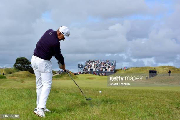Ian Poulter of England hits a shot from the rough on the 6th hole during the first round of the 146th Open Championship at Royal Birkdale on July 20...
