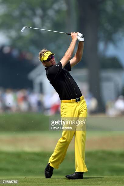 Ian Poulter of England hits a shot on the first hole during the third round of the 107th US Open Championship at Oakmont Country Club on June 16 2007...