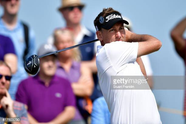 Ian Poulter of England hits a tee shot during a practice round prior to the 146th Open Championship at Royal Birkdale on July 18 2017 in Southport...