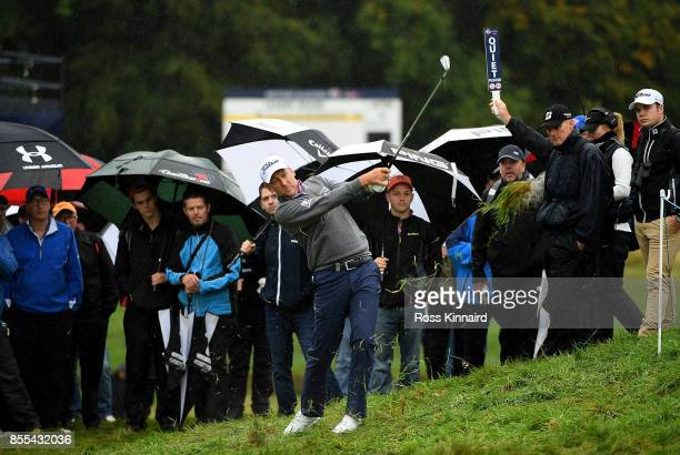 Ian Poulter of England hits his second shot on the 16th hole during day two of the British Masters at Close House Golf Club on September 29 2017 in...