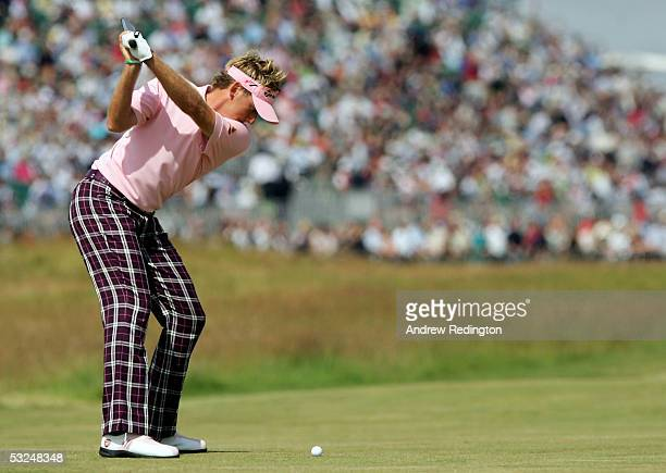 Ian Poulter of England hits his second shot on the second hole during the final round of the 134th Open Championship at Old Course, St Andrews Golf...