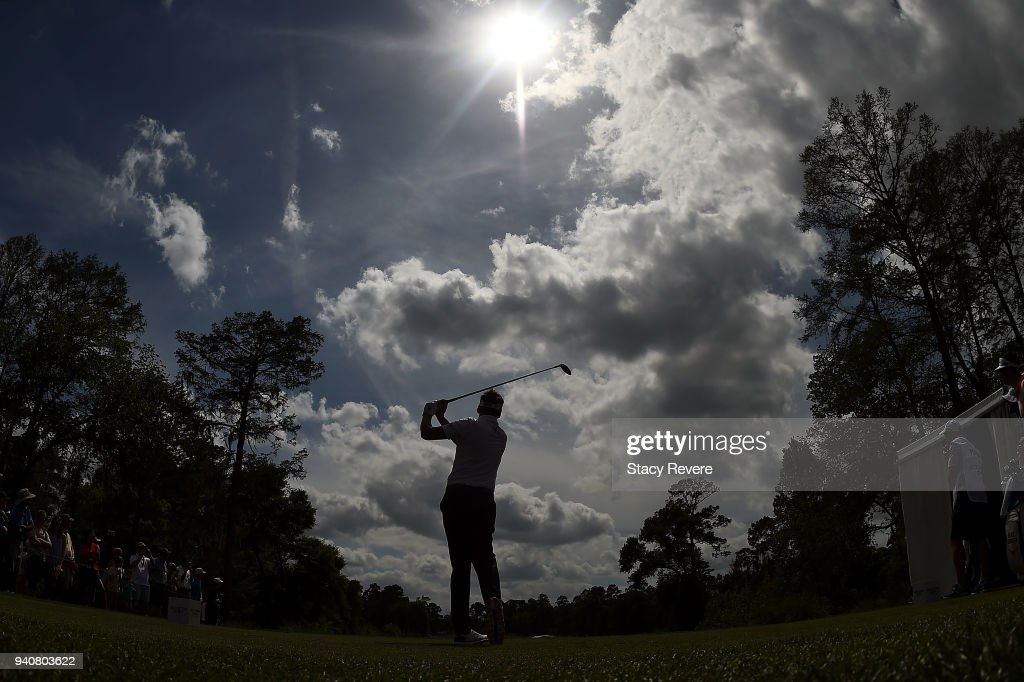 Ian Poulter of England hits his tee shot on the 10th hole during the final round of the Houston Open at the Golf Club of Houston on April 1, 2018 in Humble, Texas.
