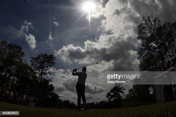 Ian Poulter of England hits his tee shot on the 10th hole during the final round of the Houston Open at the Golf Club of Houston on April 1 2018 in...