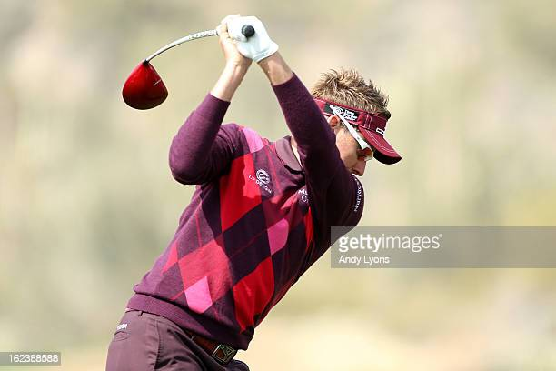 Ian Poulter of England hits his tee shot on the 11th hole during the second round of the World Golf Championships Accenture Match Play at the Golf...