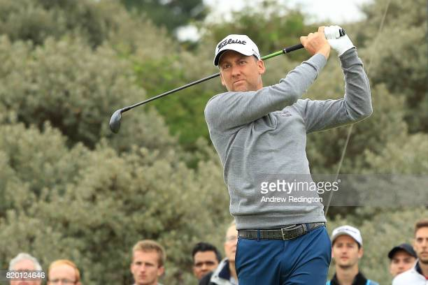 Ian Poulter of England hits his tee shot on the 2nd hole during the second round of the 146th Open Championship at Royal Birkdale on July 21 2017 in...
