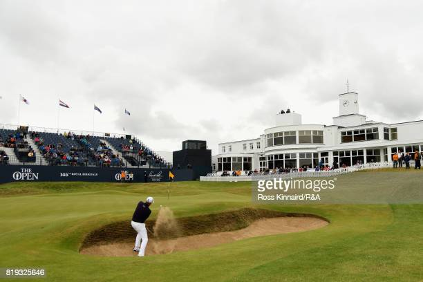 Ian Poulter of England hits his third shot from a bunker on the 18th hole during the first round of the 146th Open Championship at Royal Birkdale on...