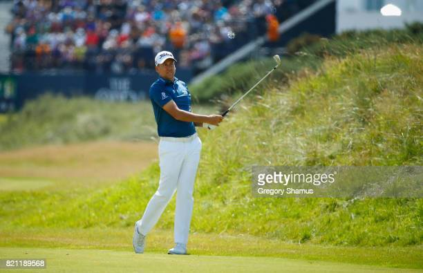 Ian Poulter of England in action during the final round of the 146th Open Championship at Royal Birkdale on July 23 2017 in Southport England