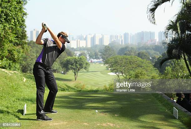 Ian Poulter of England in action during the first round of the UBS Hong Kong Open at The Hong Kong Golf Club on December 8, 2016 in Hong Kong, Hong...