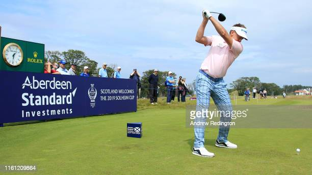 Ian Poulter of England in action during the Pro Am event prior to the start of the Aberdeen Standard Investments Scottish Open at The Renaissance...