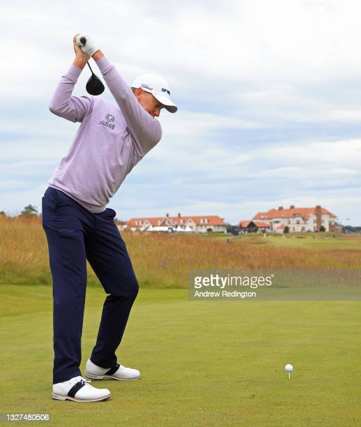Ian Poulter of England in action during the Pro Am event prior to the abrdn Scottish Open at The Renaissance Club on July 07, 2021 in North Berwick,...