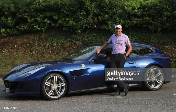 Ian Poulter of England is pictured with his car for the week following the Pro Am event prior to the start of the Italian Open at Gardagolf Country...