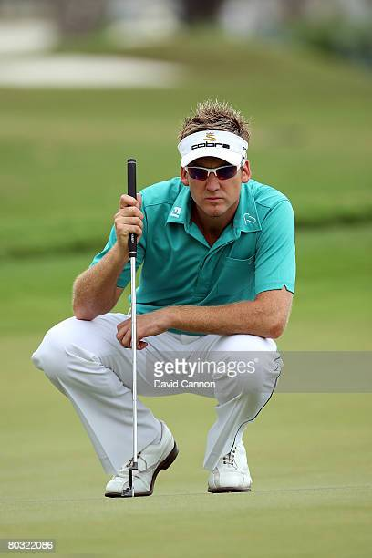 Ian Poulter of England lines up a birdie putt at the 10th hole during the first round of the 2008 World Golf Championships CA Championship at the...