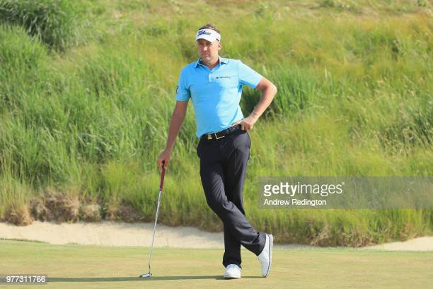 Ian Poulter of England looks on during the final round of the 2018 US Open at Shinnecock Hills Golf Club on June 17 2018 in Southampton New York